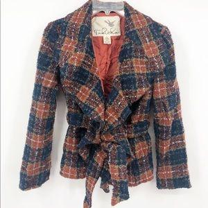 Anthropologie Tabitha Moretown plaid belted jacket